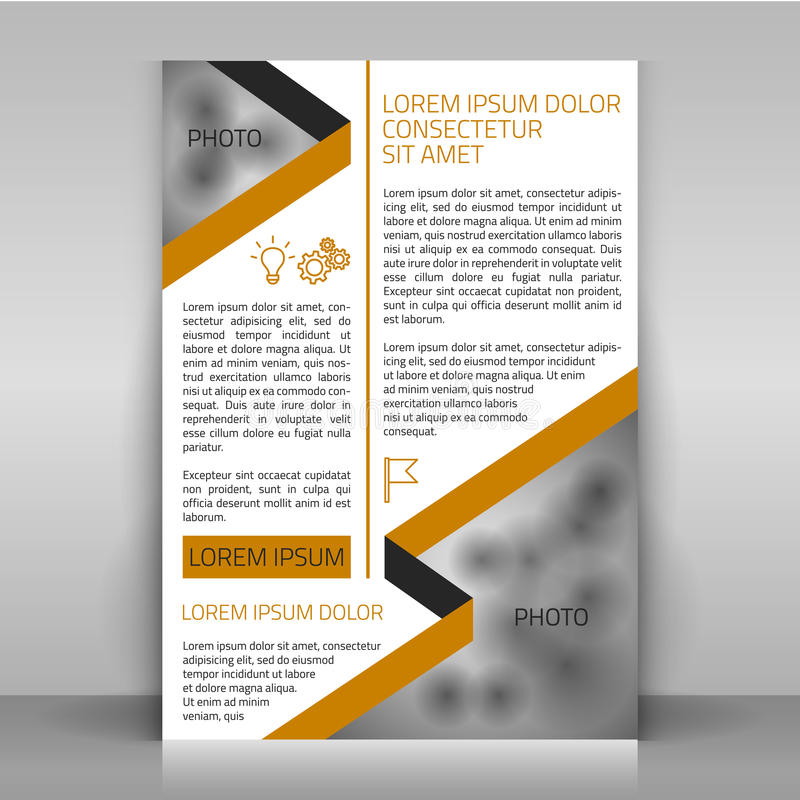 Business flyer. Business flyer design, brochure cover template. Design with strips (along the diagonals) and icons. Layout with bejge and gray elements on white stock illustration