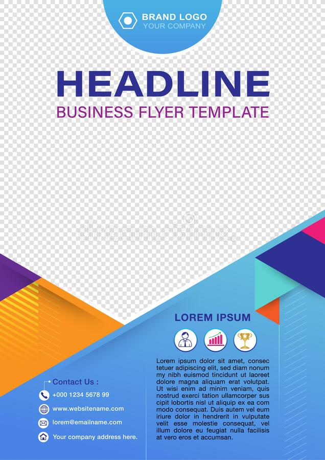 Business flyer design template cover layout with line strips blue background stock illustration