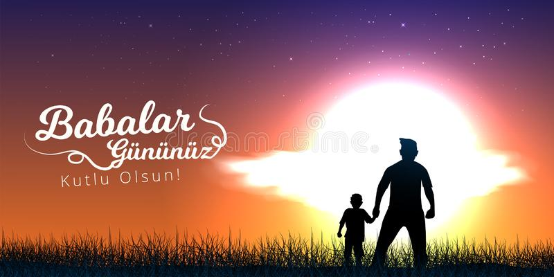 Father and son are holding hands and watching sunset view. Turkish holiday `Babalar Gunu Kutlu Olsun` Translate: `Happy Father`s D vector illustration