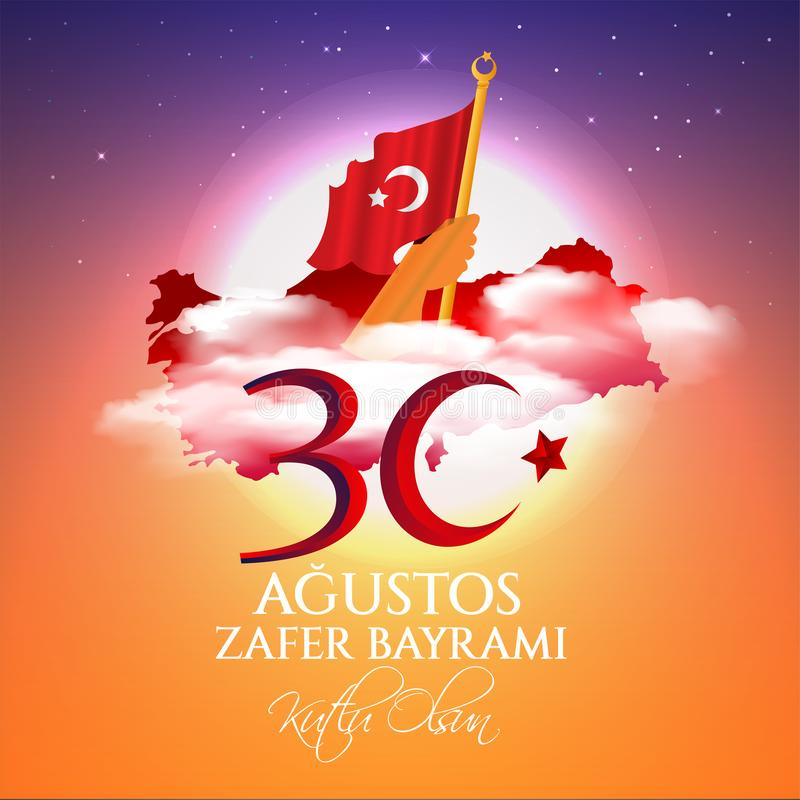 Vector illustration 30 agustos zafer bayrami Victory Day Turkey. Translation: August 30 celebration of victory and the National Da vector illustration