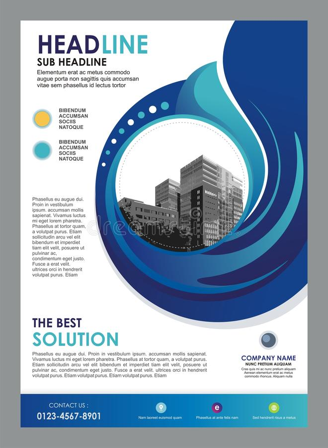 Business flyer template with stylish circular and wave design royalty free illustration