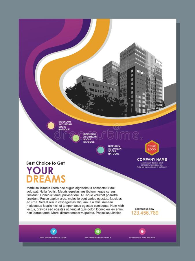 Business flyer template with Stylish purple and yellow wave design stock illustration