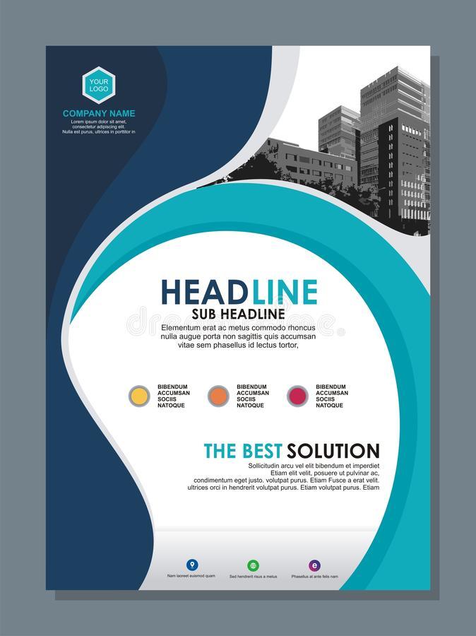 Business flyer template with stylish wave design stock illustration