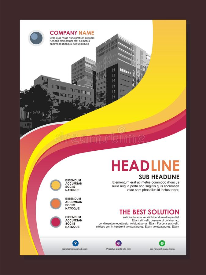 Business flyer template with stylish wave design royalty free illustration