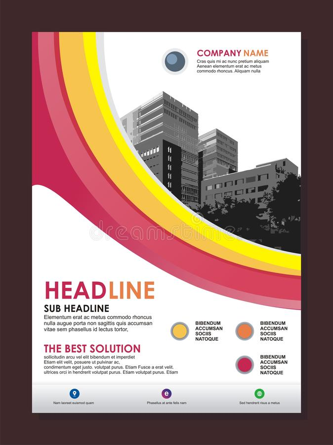 Business flyer template with stylish wave design vector illustration