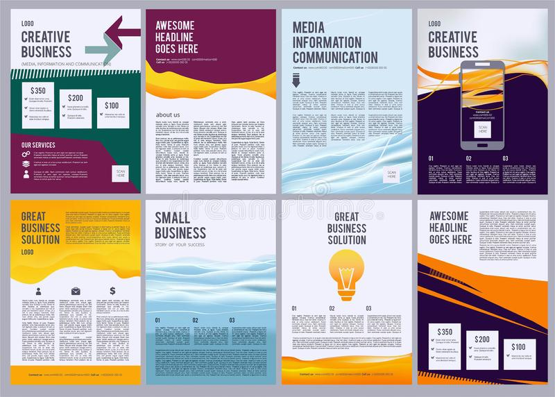 Business flyers. Product ads brochure pages design template with colored abstract modern forms and presentation text royalty free illustration