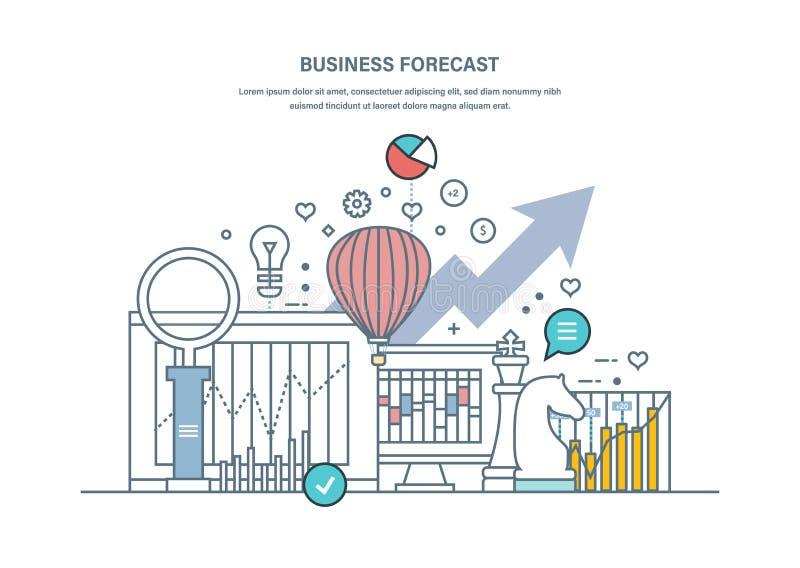 Business forecast. Data analysis, financial management report, market stats. stock illustration