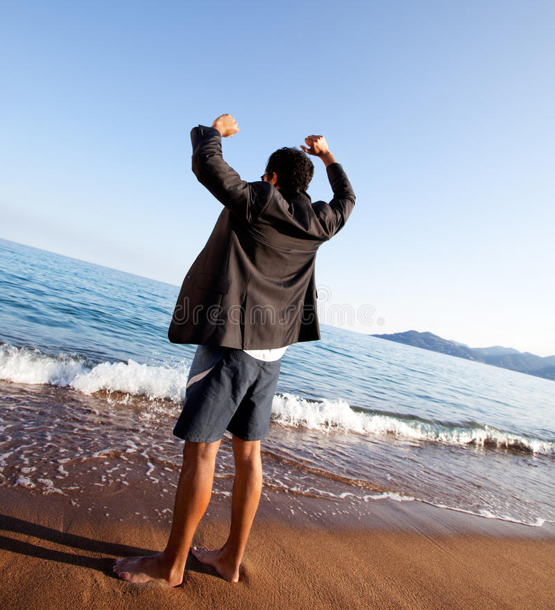 Business Freedom. A business man with outstretched arms - freedom, success concept stock images