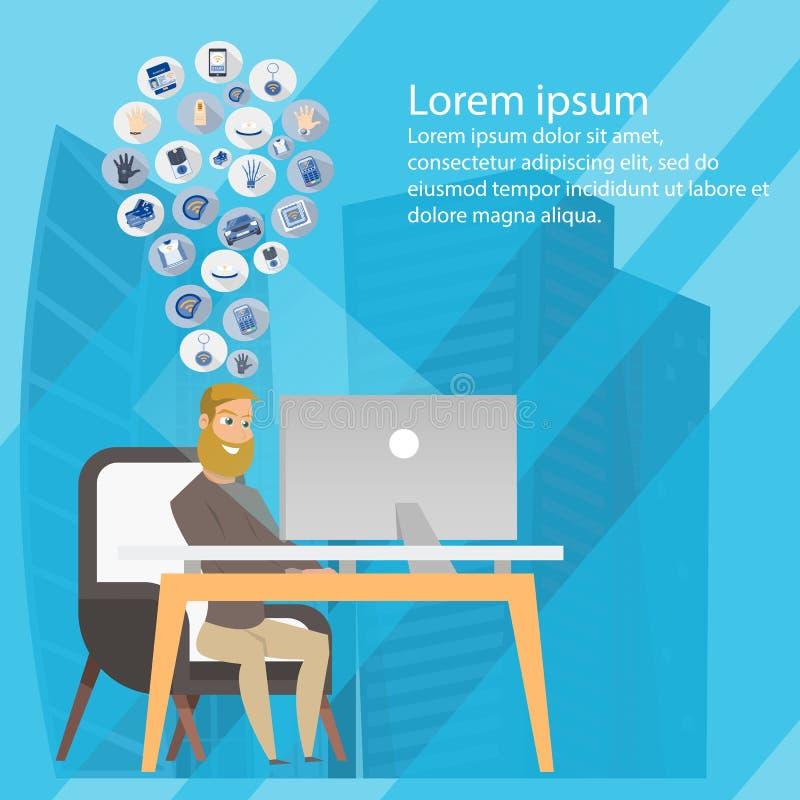 Business Freelance Man Sharing Ideas Banner royalty free illustration