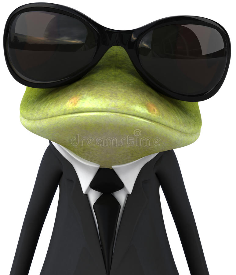 Business frog. Cute little business frog, 3D generated royalty free illustration