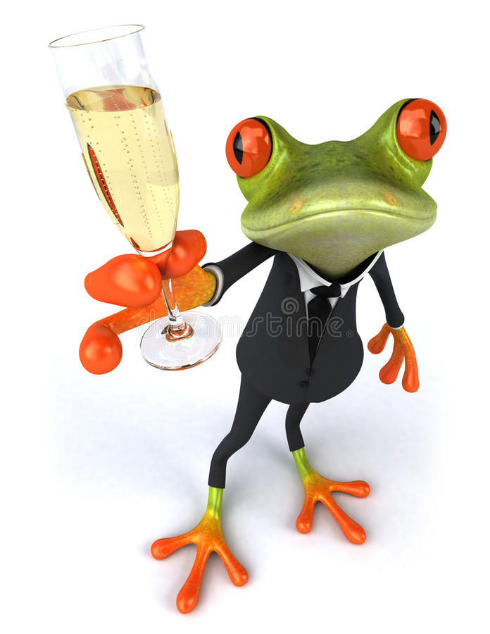 Business frog and champagne. Cute little business frog, 3D generated
