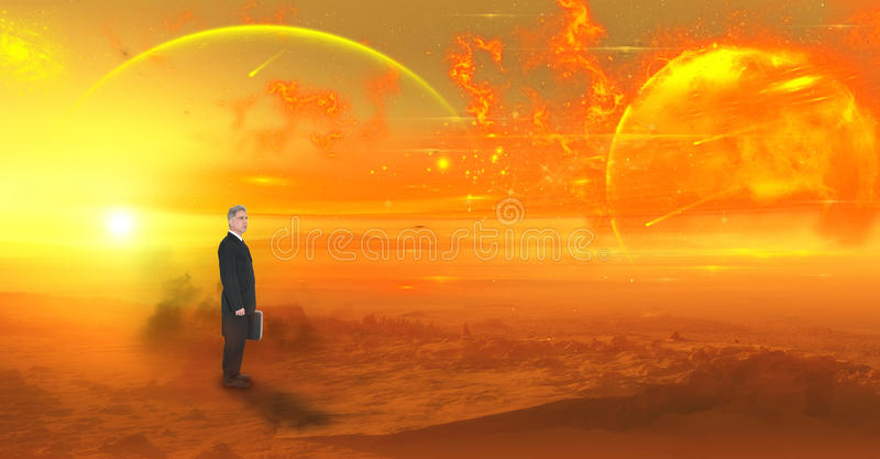 Business, Future, Sales, Marketing Concept. Abstract concept for business in the future. A businessman stands in a lunar landscape for a metaphor of futuristic royalty free stock photography