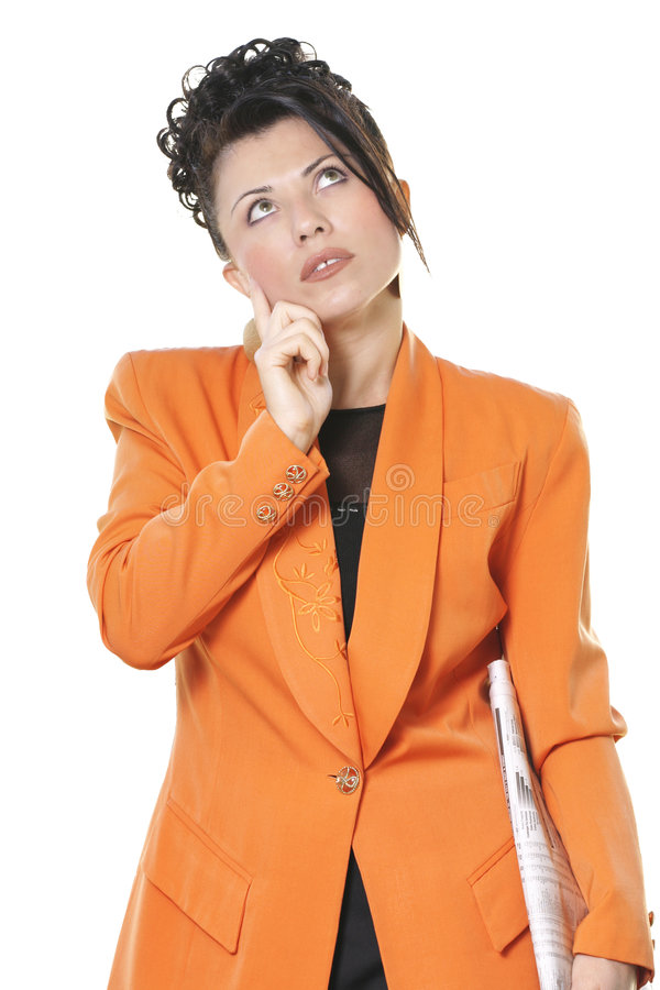 Business future. A woman contemplates her financial/business future royalty free stock photos