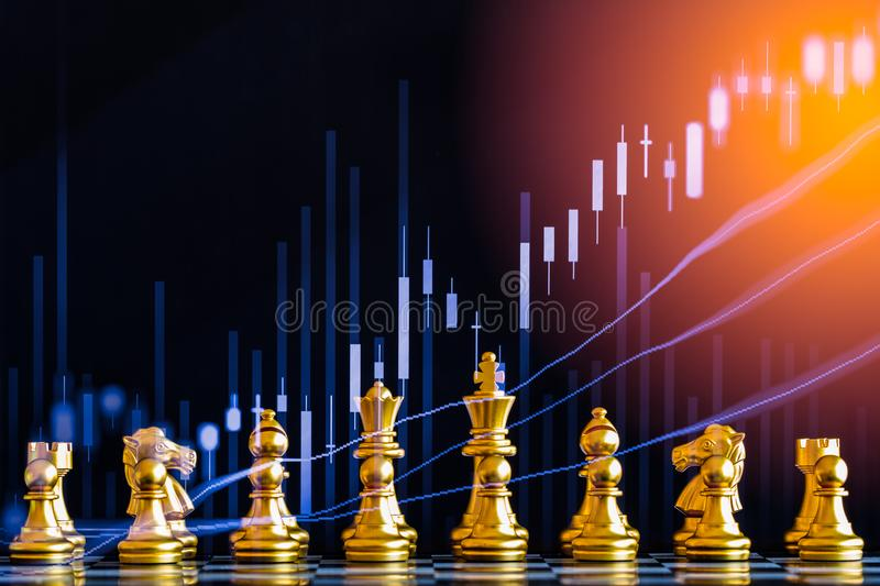 Business game on digital stock market financial and chess background. Digital business and stock market financial on LED. Double. Exposure chess business stock photo