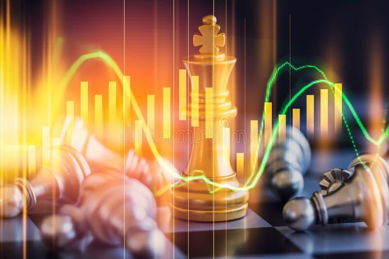 Business game on digital stock market financial and chess background. Digital business and stock market financial on LED. Double stock photography