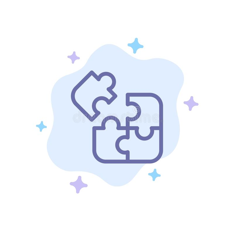 Business, Game, Logic, Puzzle, Square Blue Icon on Abstract Cloud Background royalty free illustration