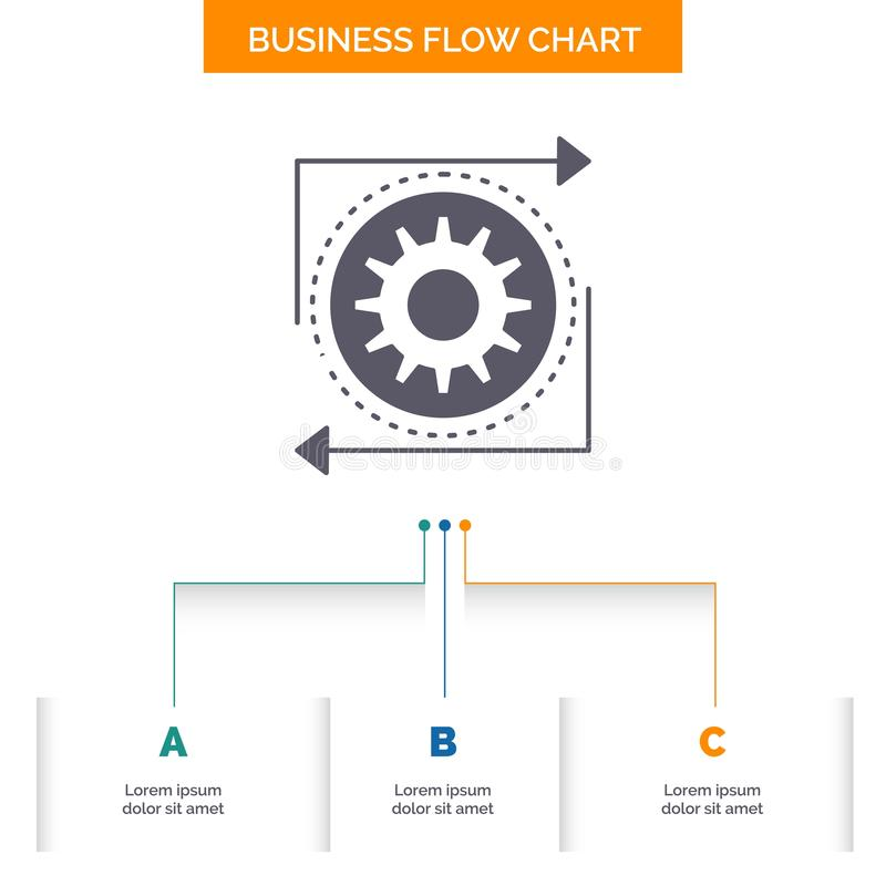 Business, gear, management, operation, process Business Flow Chart Design with 3 Steps. Glyph Icon For Presentation Background. Template Place for text.. Vector vector illustration