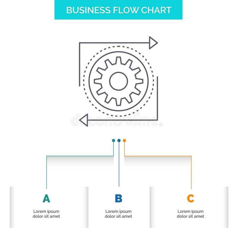 Business, gear, management, operation, process Business Flow Chart Design with 3 Steps. Line Icon For Presentation Background. Template Place for text. Vector vector illustration