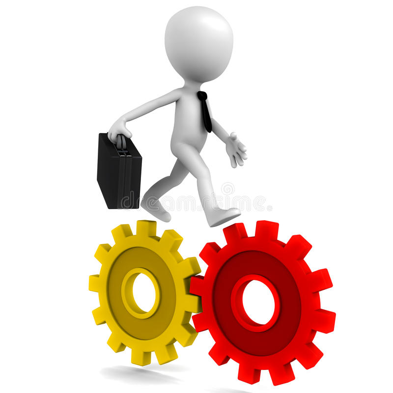 Business gears. Business machine concept, 3d little business man running over gears and moving them vector illustration