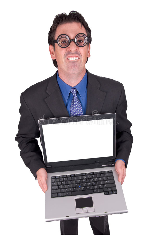 Download Business geek with laptop stock photo. Image of portrait - 3520036