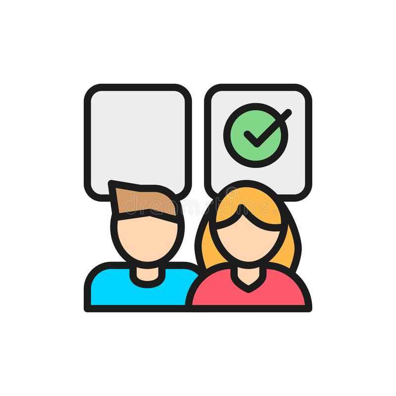 Free Business Gender Gap Equality, Female Advantage Flat Color Line Icon. Stock Image - 169372131