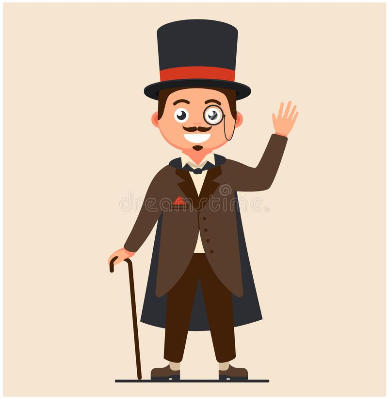 Business gentleman with a cane and in a raincoat. rich people of the 19th century. serious retro businessman royalty free illustration