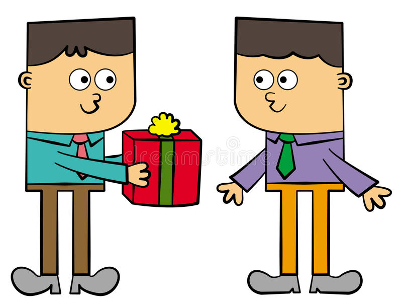 Business gift. A cartoon character in business attire is giving gift to another office worker stock illustration
