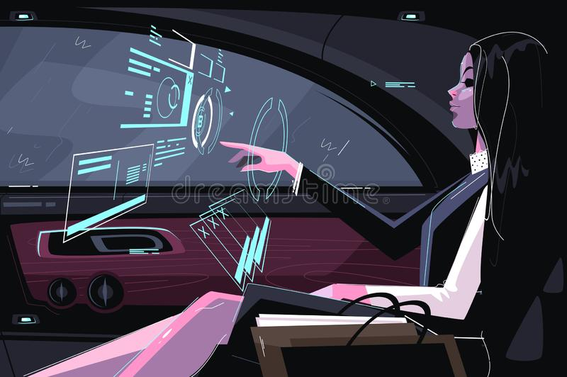 Business girl in car. Vector illustration. Cute businesswoman sitting in vehicle and working with biz hologram flat style design. Futuristic digital technology stock illustration
