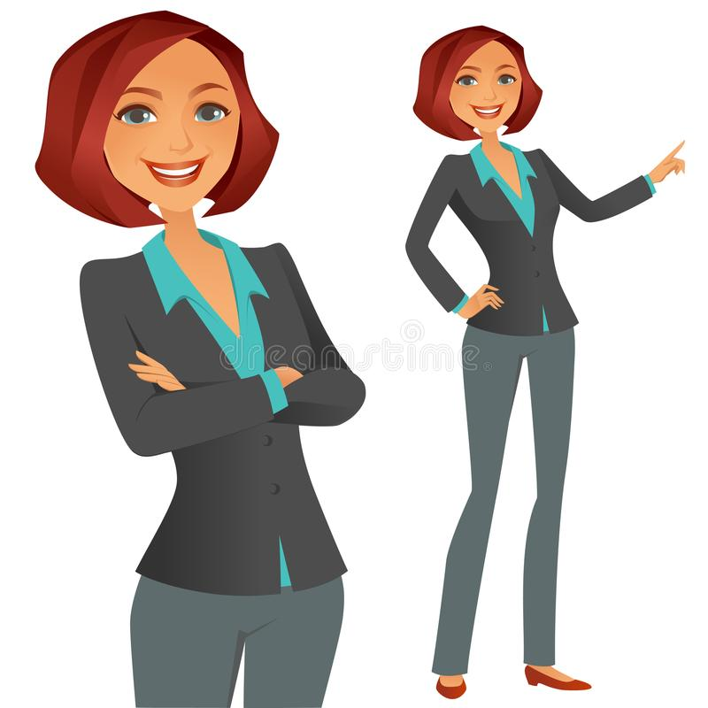 Business Girl. A cute happy business girl stock illustration