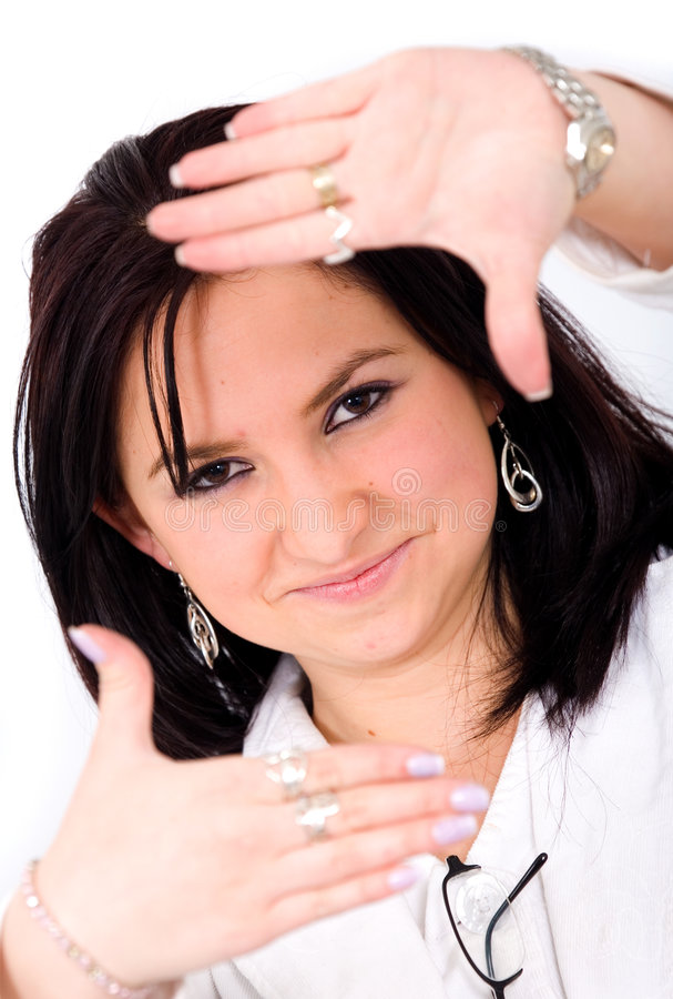 Download Business Girl Framing Her Face Stock Image - Image: 2311927