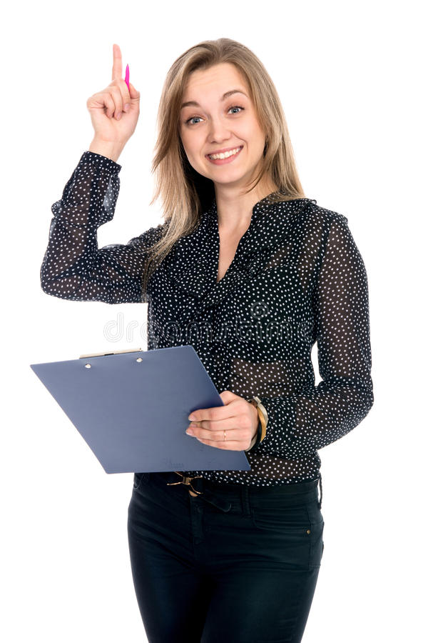 Business girl having a good idea. Isolated over a white background royalty free stock photos