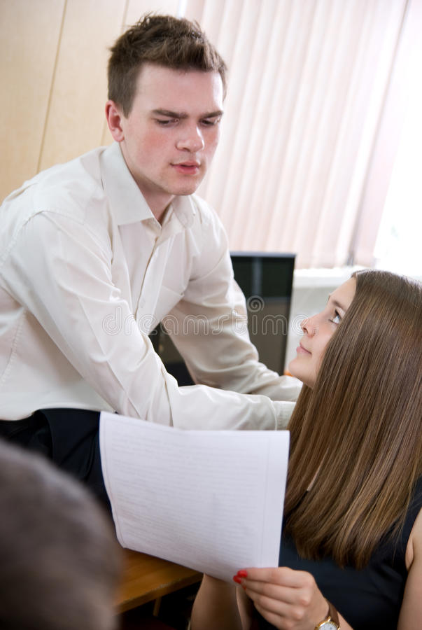 Download Business Girl Shows Document To Partner Stock Image - Image: 25368435