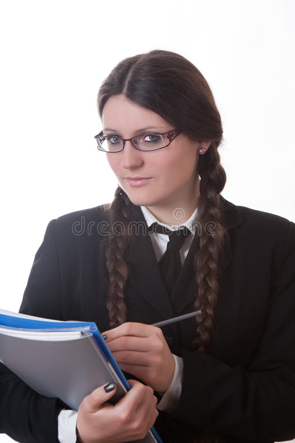 Download Business girl wrote stock image. Image of long, female - 17728393