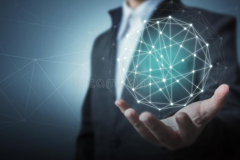 Business global circle network connection concept stock images