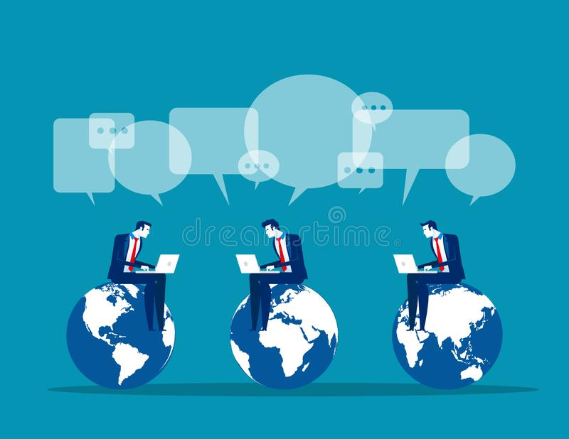 Business global communication, Concept business vector, Technology, Network and Connection, Social media stock illustration