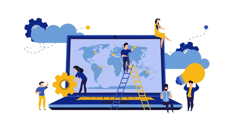 Business global earth vector map concept with laptop. PC consulting idea world. Man and woman group illustration team cartoon. vector illustration