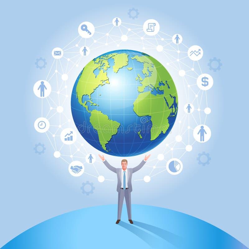 Business Global Network Management System conceptual. Businessman on the earth vector. Illustration vector illustration