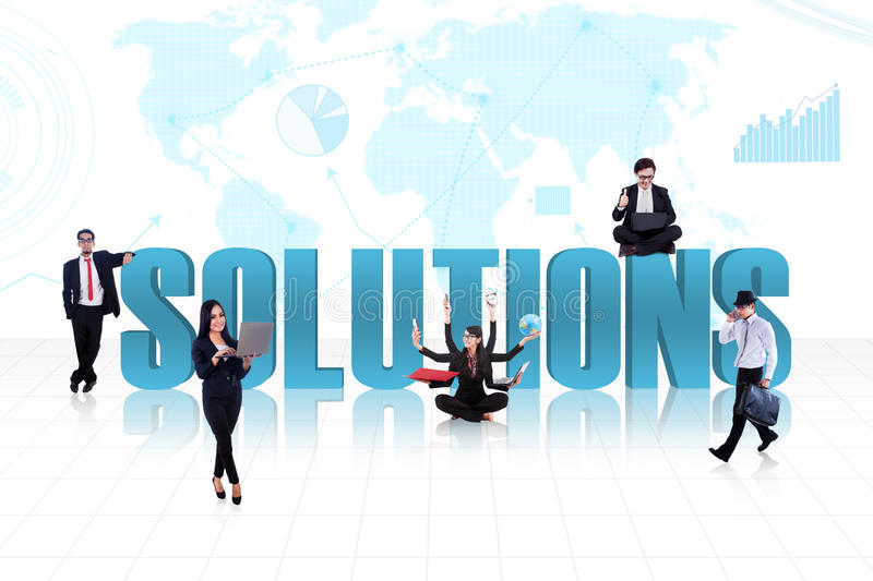 Business global solutions in blue royalty free illustration