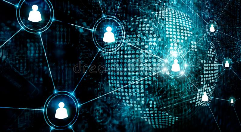 Business of global structure networking and data exchanges customer connection on dark background.  stock photography