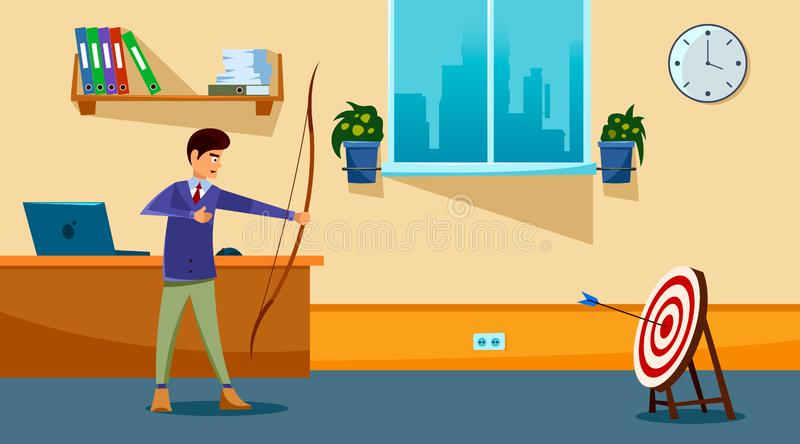Business goal achievement concept. Successful businessman aiming target with bow and arrow. vector illustration