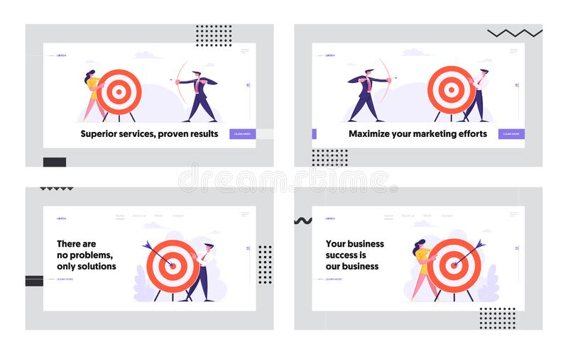 Business Goal Achievement Website Landing Page Set, Business People Shoot to Aim, Challenge, Task Solution. Business Strategy, Opportunity, Target Web Page royalty free illustration