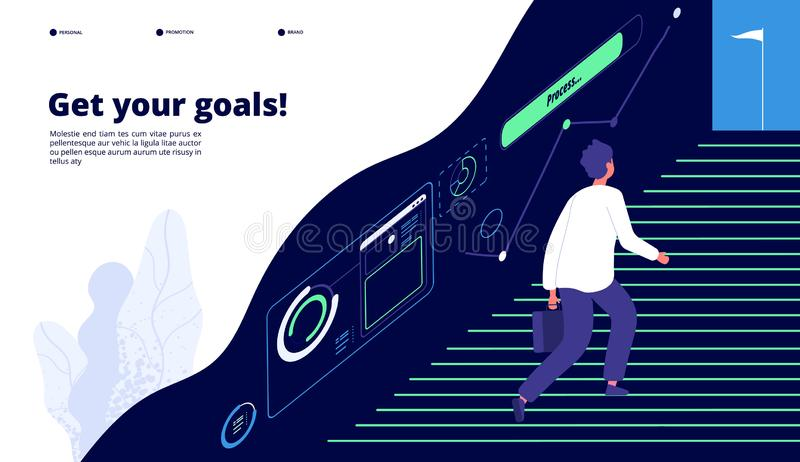 Business goal. Businessman walking up stairs to focused target. Motivation successful achievement vector landing page. Achievement challenge, career up royalty free illustration
