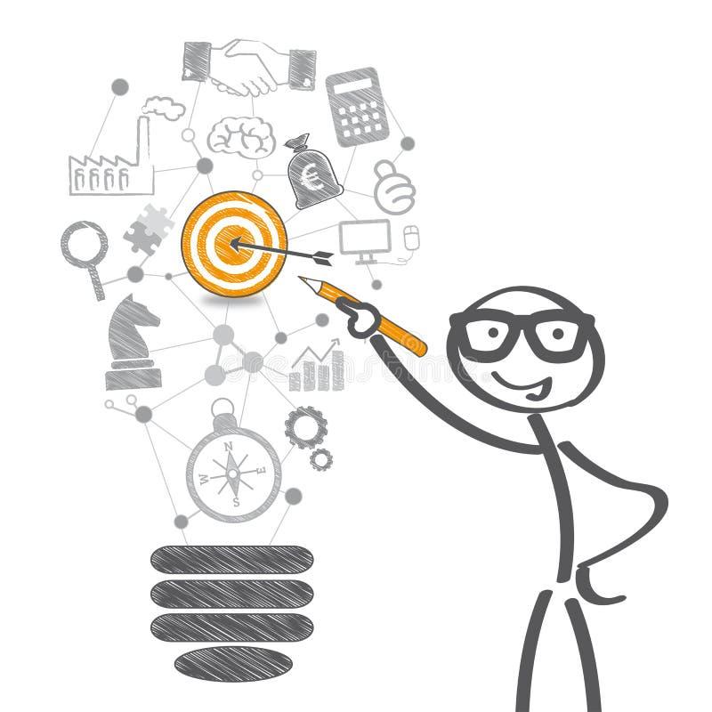 Business goal. Stickman draw business symbols stock illustration