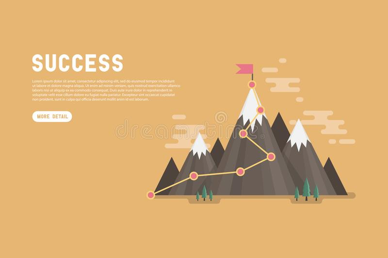 Business goal success concept infographic. Flag on the top of mountain. royalty free illustration