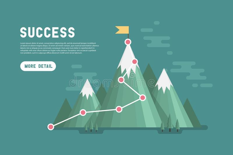 Business goal success concept infographic. Flag on the top of mountain. Vector stock illustration