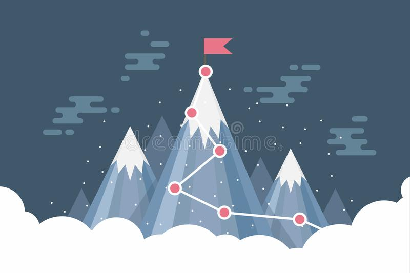 Business goal success concept infographic. Flag on the top of snow mountain. Vector stock illustration