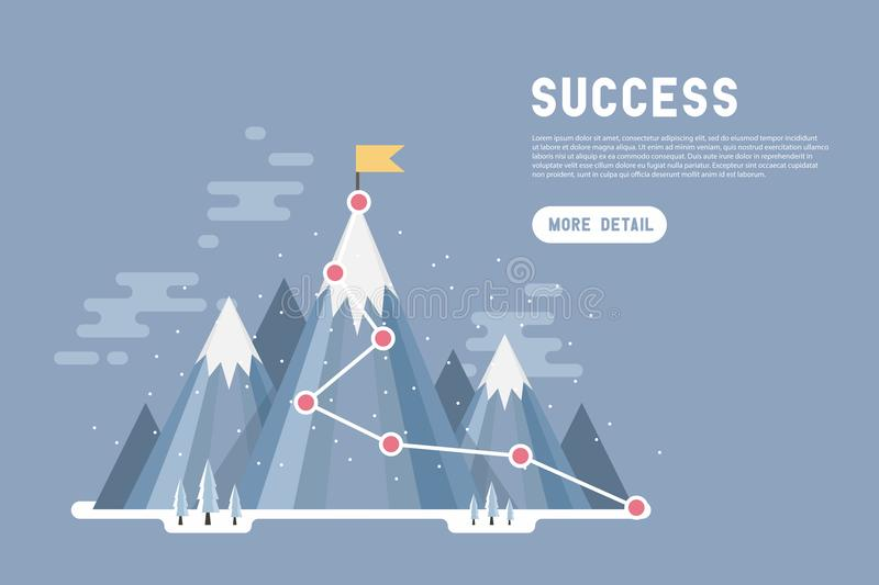 Business goal success concept infographic. Flag on the top of snow mountain. vector illustration