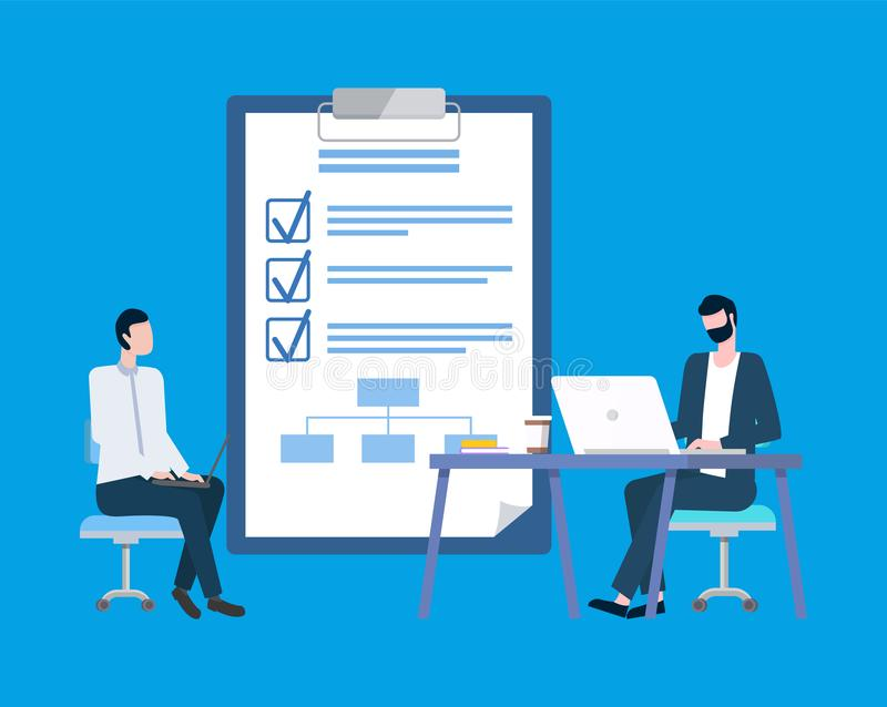 List with Check Marks on Notepad, Businessmen vector illustration