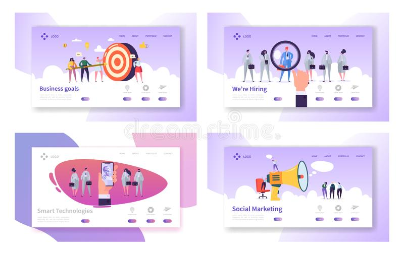 Business Goals, Smart Technologies, Hiring, Social Marketing Website Landing Page Templates Set. Business Target, Employees. Research, Ai in Life Web Page royalty free illustration