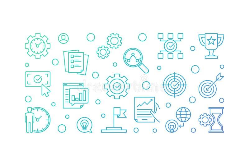 Business goals vector outline illustration on white background vector illustration